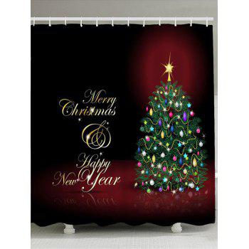 Merry Christmas Tree Pattern Waterproof Shower Curtain - COLORFUL COLORFUL