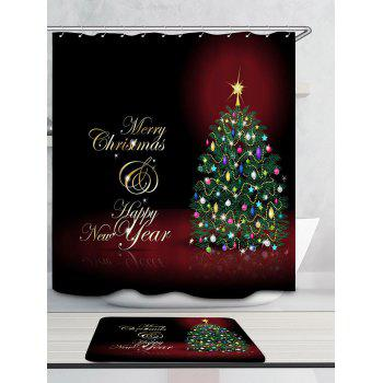 Merry Christmas Tree Pattern Rideau de douche imperméable - coloré W71 INCH * L79 INCH