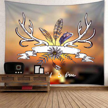 Flower Feather Print Wall Hanging Tapestry - COLORMIX W91 INCH * L71 INCH