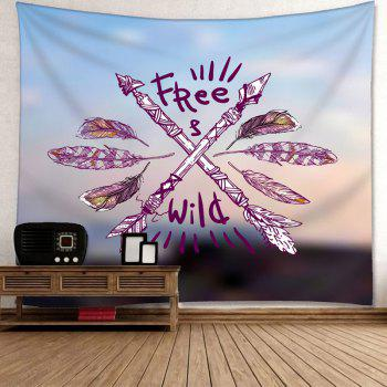 Wild Free Feather Arrows Print Wall Hanging Tapestry - COLORMIX W59 INCH * L51 INCH