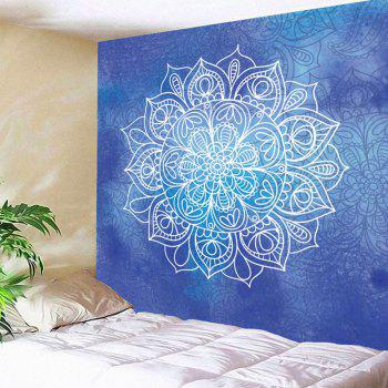 Mandala Flower Printed Wall Art Tapestry - BLUE BLUE