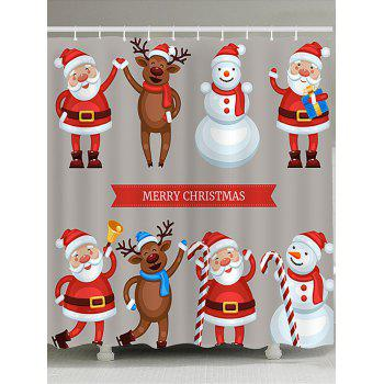 Waterproof Santa Snowman Elk Printed Christmas Shower Curtain - COLORFUL COLORFUL