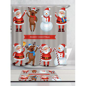 Waterproof Santa Snowman Elk Printed Christmas Shower Curtain - COLORFUL W71 INCH * L71 INCH
