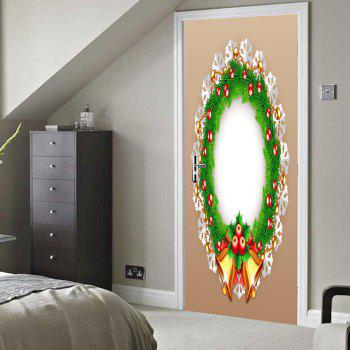 Christmas Wreath Pattern Door Stickers - COLORMIX 38.5*200CM*2PCS