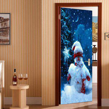 Snowy Night Snowman Printed 2Pcs Environmental Removable Door Stickers - COLORFUL 38.5*200CM*2PCS