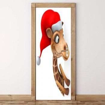 Environmental Removable Christmas Giraffe Printed Door Stickers - BROWN 38.5*200CM*2PCS
