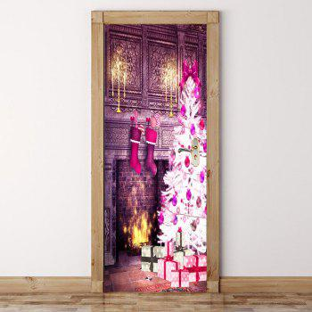 2Pcs Christmas Fireplace Pattern Environmental Removable Door Stickers - COLORFUL 38.5*200CM*2PCS