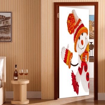 Environmental Removable Christmas Snowman Printed Door Stickers - COLORFUL 38.5*200CM*2PCS