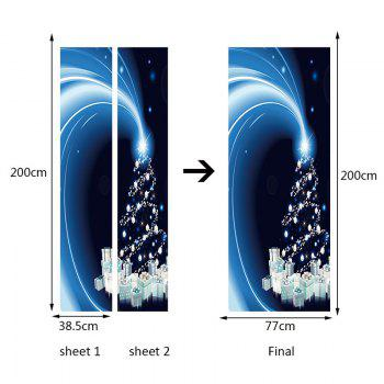 Starlight Christmas Tree Gifts Printed Door Stickers - BLUE 38.5*200CM*2PCS