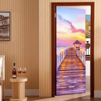Seaside Wooden Bridge Patterned Door Wallpaper Stickers - SUEDE ROSE 38.5*200CM*2PCS