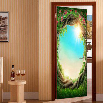 Sunshine Sky Outside Tree Hole Print Eco-friendly Door Stickers - GREEN 38.5*200CM*2PCS