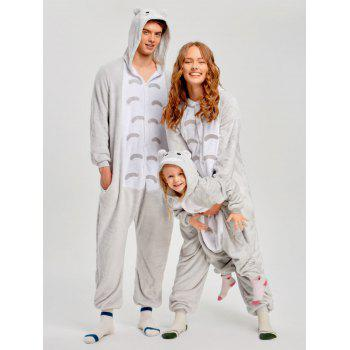 Christmas Cut Cat Animal Onesie Pajama for Family - GRAY GRAY