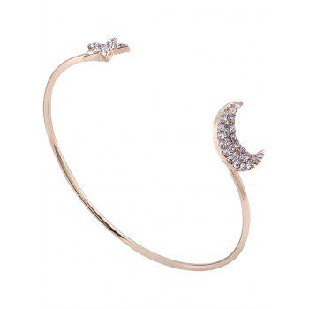 Inlay Rhinestone Moon Star Cuff Bracelet Set - GOLDEN