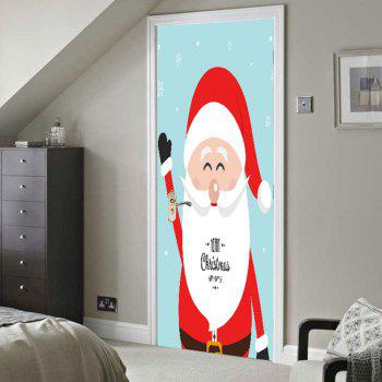 Environmental Removable Father Christmas Printed Door Stickers - COLORFUL 38.5*200CM*2PCS