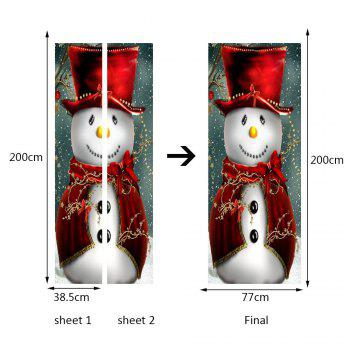 Snowman Magician Pattern Environmental Removable Christmas Door Stickers - COLORFUL 38.5*200CM*2PCS