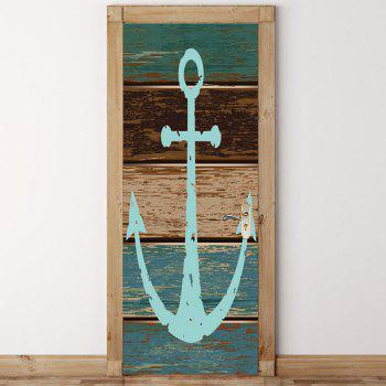 Environmental Removable Wooden Anchor Printed Door Stickers - COLORFUL 38.5*200CM*2PCS