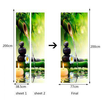 Bamboo Pool Pattern Environmental Removable Door Stickers - GREEN 38.5*200CM*2PCS