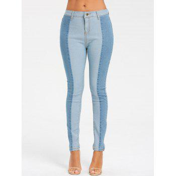 Light Wash Skinny Color Block Jeans - CLOUDY S