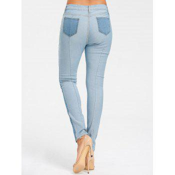 Light Wash Skinny Color Block Jeans - CLOUDY M
