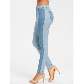 Light Wash Skinny Color Block Jeans - CLOUDY CLOUDY