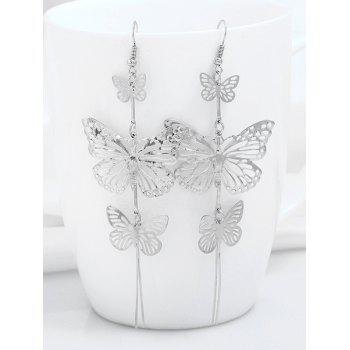 Alloy Layered Butterfly Drop Earrings - SILVER