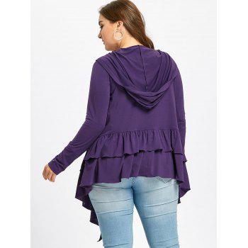 Plus Size Open Front Ruffle Hooded Cardigan - PURPLE 2XL