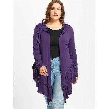 Plus Size Open Front Ruffle Hooded Cardigan - PURPLE PURPLE