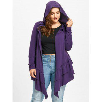 Plus Size Open Front Ruffle Hooded Cardigan - PURPLE 3XL