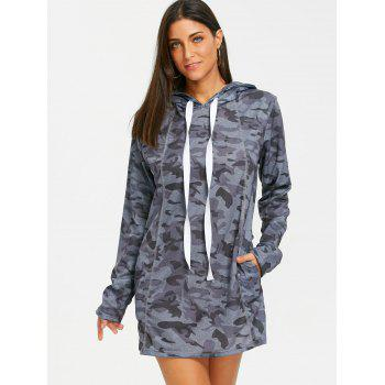 Hooded Exposed Seam Camouflage Dress - GRAY L