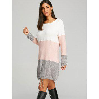Color Block Striped Sweater Dress - PINK XL