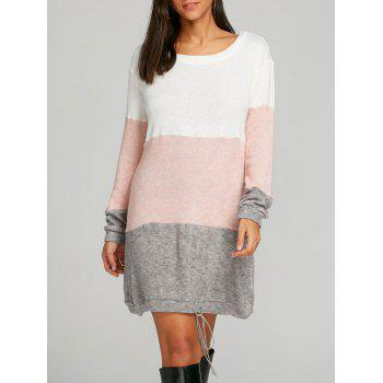 Color Block Striped Sweater Dress - PINK PINK