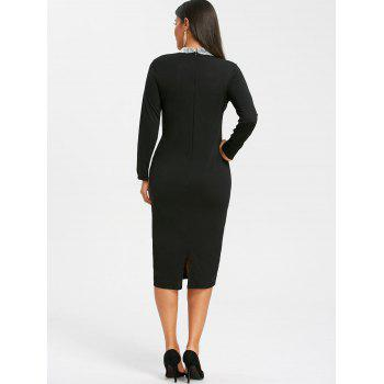 High Neck Keyhole Sequin Pencil Dress - BLACK M