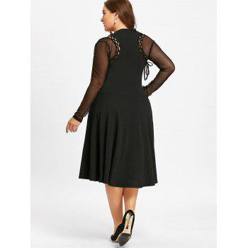 Plus Size Lace Up Cutout Gothic Dress - BLACK BLACK