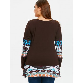 Aztec Printed Panel Plus Size Tunic T-shirt - DARK COFFEE 4XL