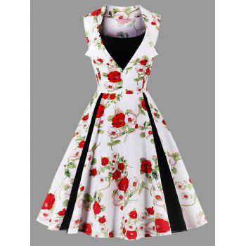 Vintage Floral Print Sleeveless Plus Size Dress - WHITE WHITE