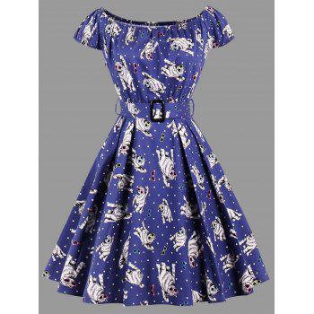 Cat Polka Dot Print Plus Size Dress - BLUE BLUE