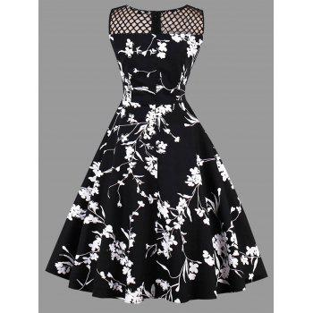 Plus Size Mesh Insert Floral Print Dress - BLACK BLACK