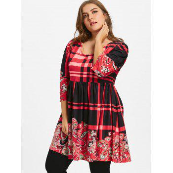Plus Size Plaid Babydoll Tee - RED XL