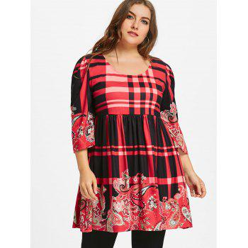 Plus Size Plaid Babydoll Tee - RED 5XL