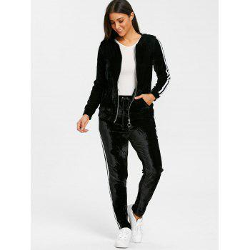 Velvet Striped Hooded Jacket with Drawstring Pants - BLACK L