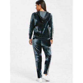 Velvet Striped Hooded Jacket with Drawstring Pants - BLUE GRAY L