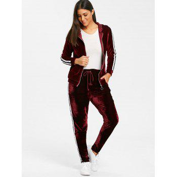 Velvet Striped Hooded Jacket with Drawstring Pants - WINE RED S