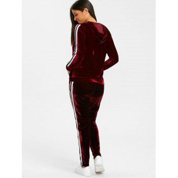 Velvet Striped Hooded Jacket with Drawstring Pants - WINE RED M