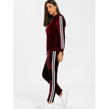 Velvet Striped Hooded Jacket with Drawstring Pants - WINE RED L