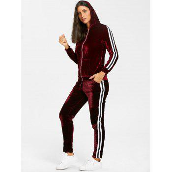 Velvet Striped Hooded Jacket with Drawstring Pants - WINE RED WINE RED
