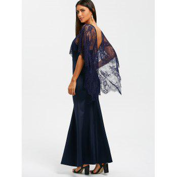 Open Back Lace Batwing Maxi Dress - NAVY BLUE M
