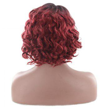 Short Ombre Side Parting Wavy Synthetic Wig -  RED/BLACK