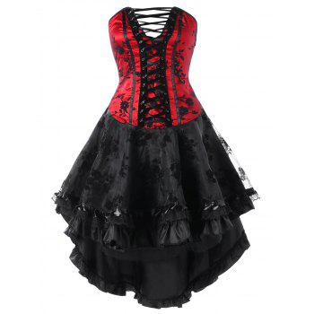 Lace Up High Low Hem Tube Corset Dress - RED WITH BLACK RED/BLACK