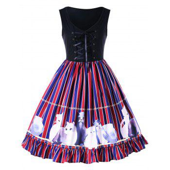Flounced Kitten Striped Swing Dress - COLORMIX COLORMIX