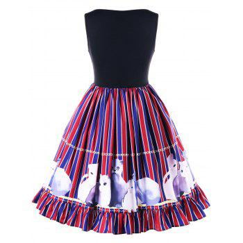 Flounced Kitten Striped Swing Dress - COLORMIX M